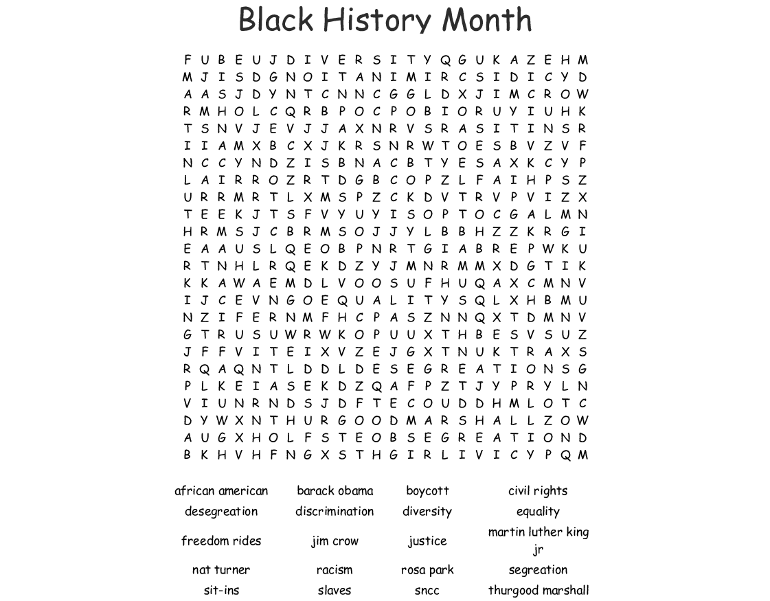 hight resolution of Black History Month Word Search Kids - The Best Picture History