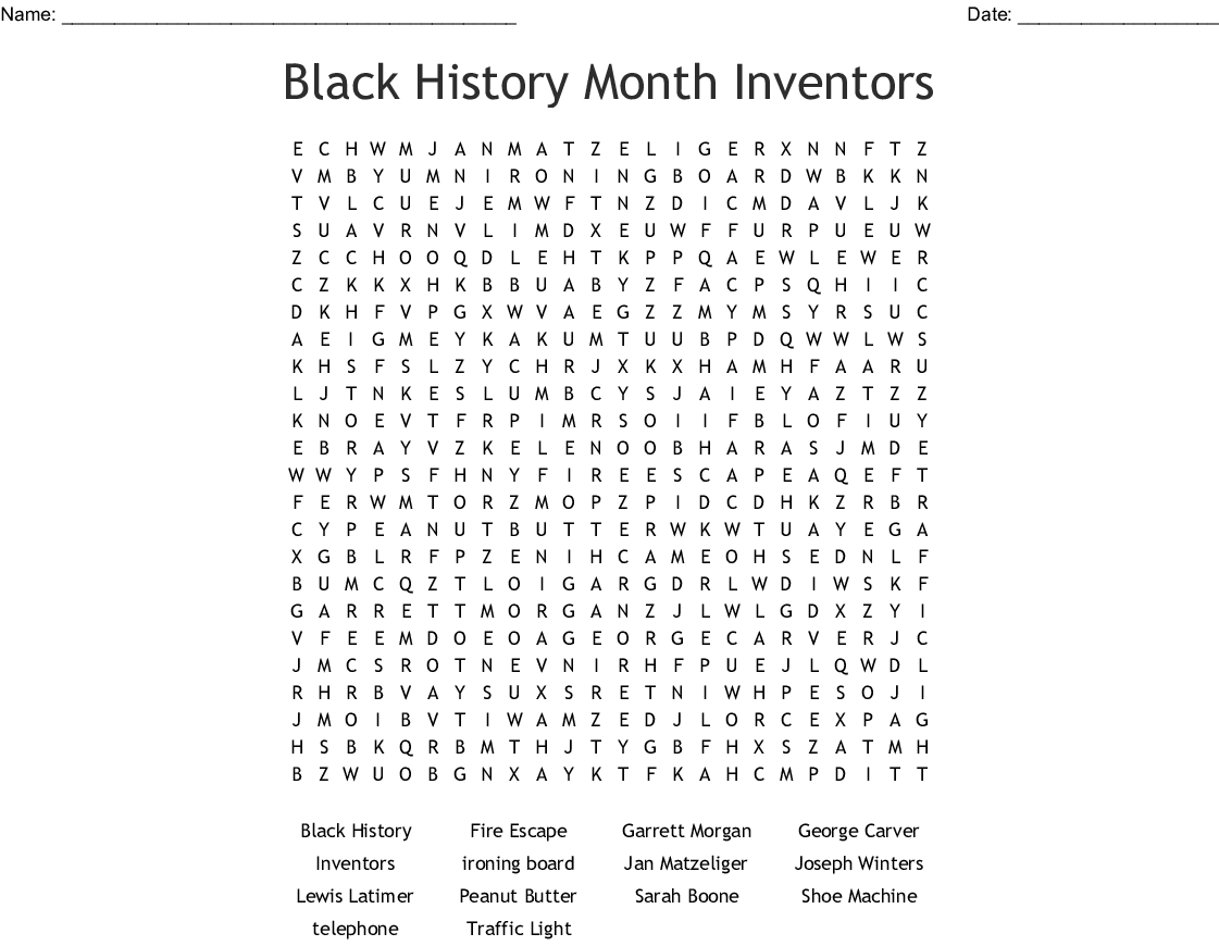 Black History Month Inventors Word Search