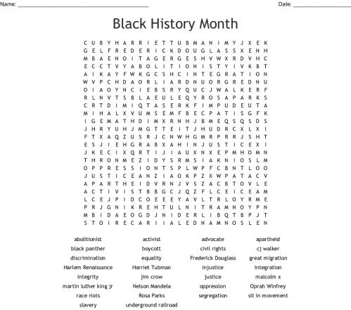 small resolution of Black History Month Word Search Kids - The Best Picture History