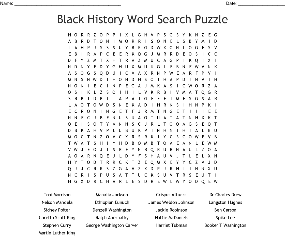 hight resolution of Free Printable Black History Month Word Search - The Best Picture History