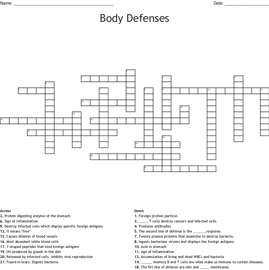 Body Defenses Crossword