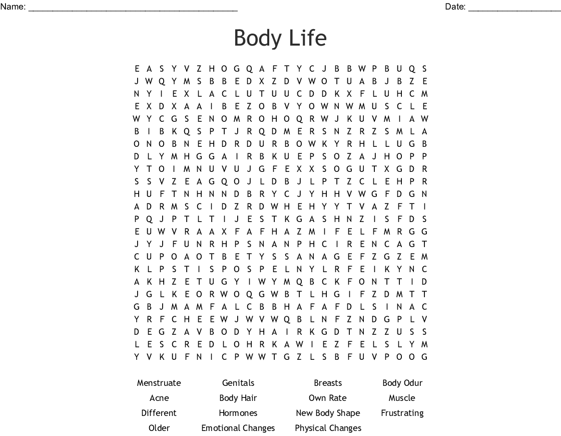 Puberty Word Search