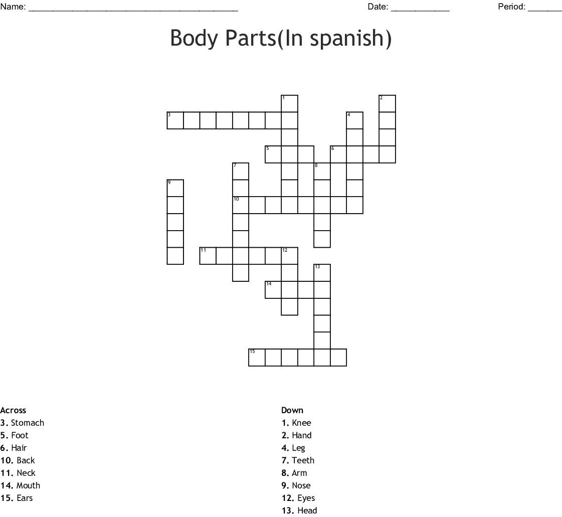 Spanish Body Parts Worksheet