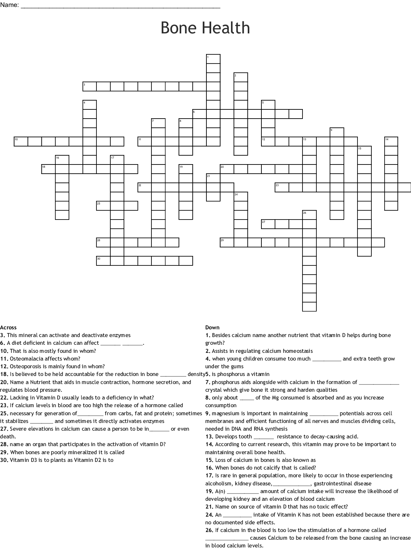 Bone Health Crossword