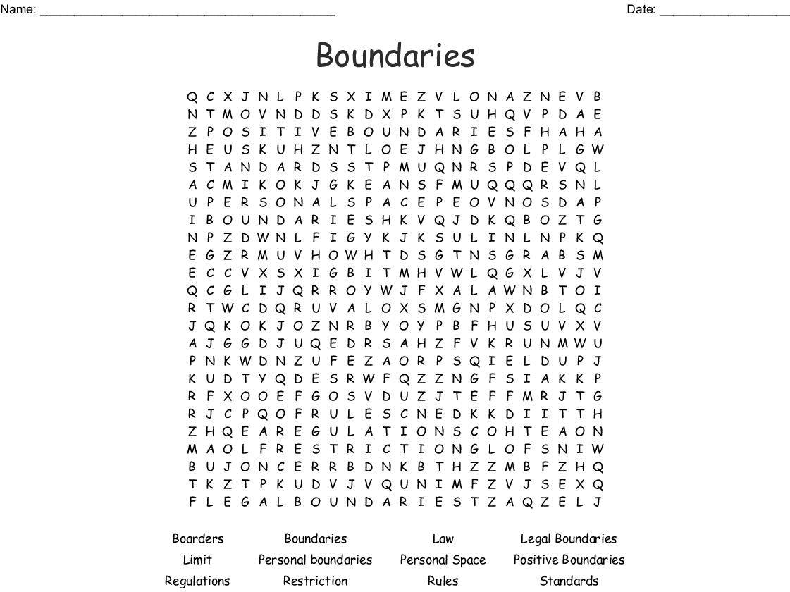Boundaries Word Search