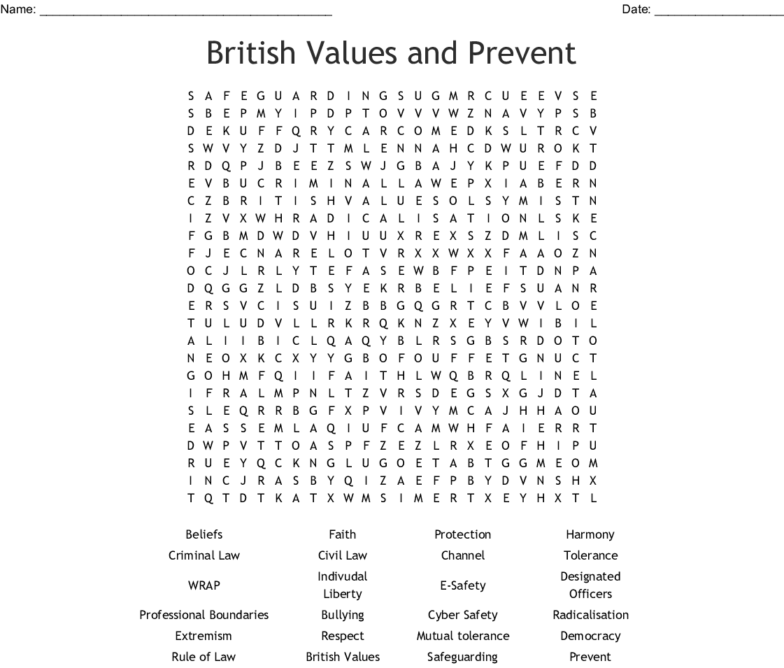 British Values And Prevent Word Search