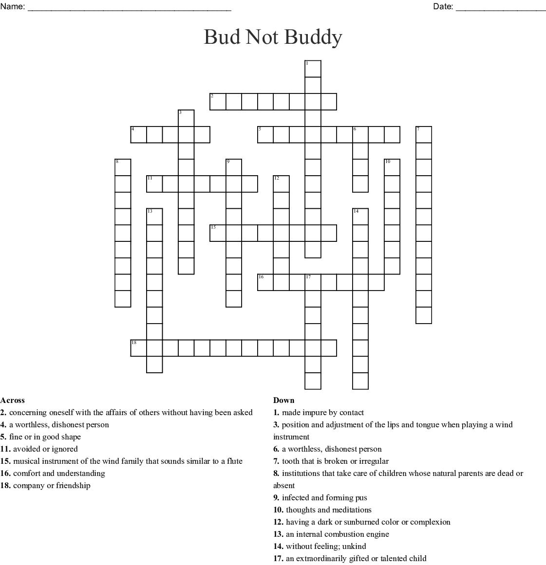 Bud Not Buddy Vocab Crossword