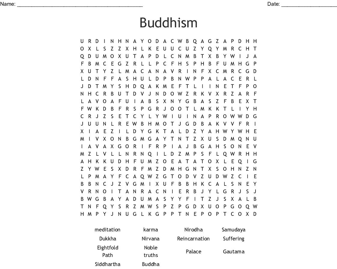 Siddhartha Guatama Word Search