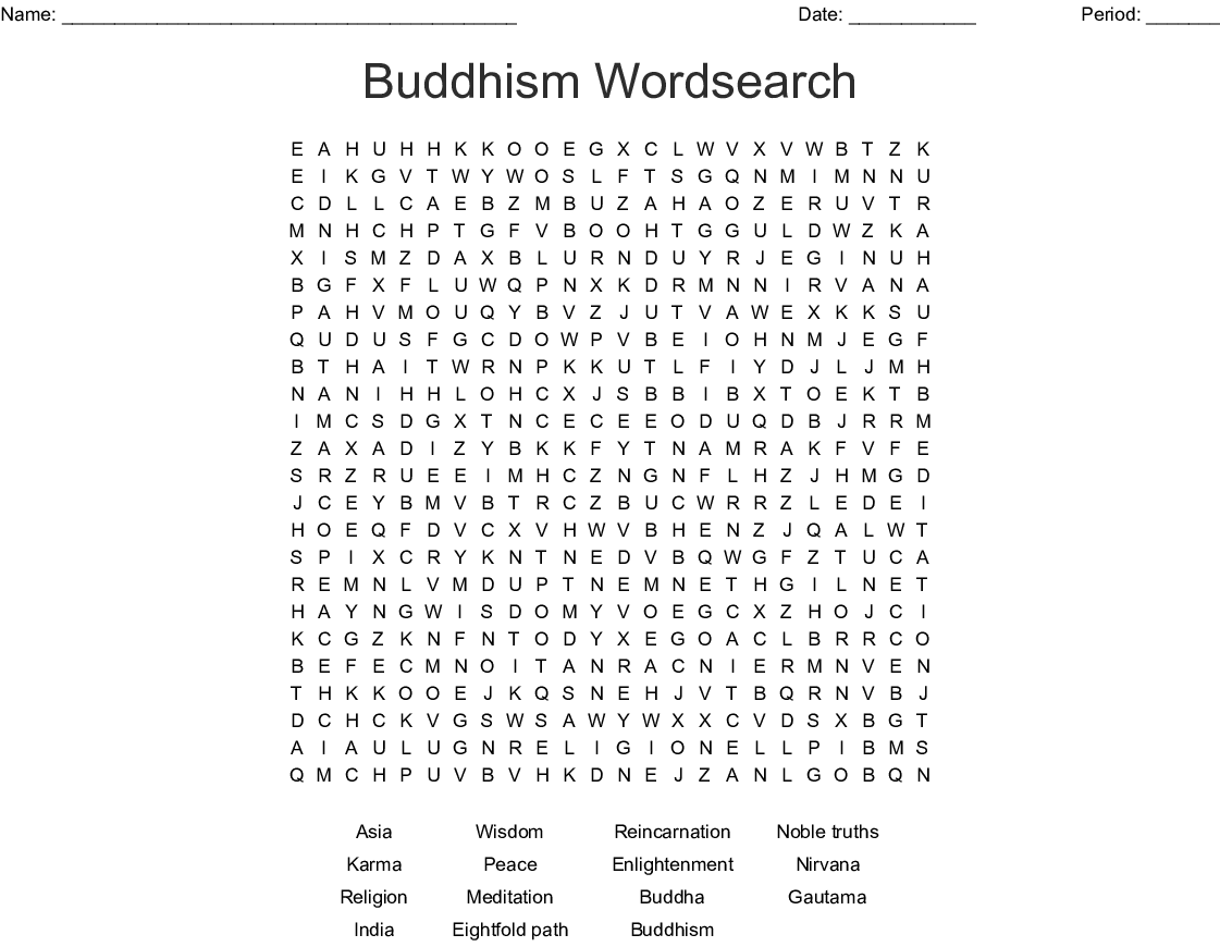 Buddhism Word Search