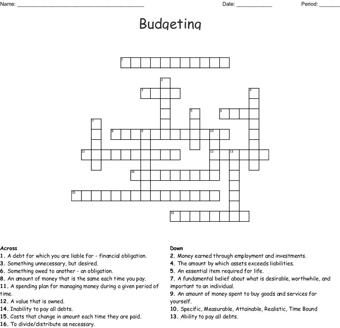Chapter 3 Budgeting Crossword