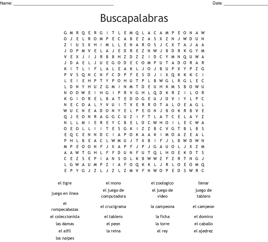 Buscapalabras Hw Word Search