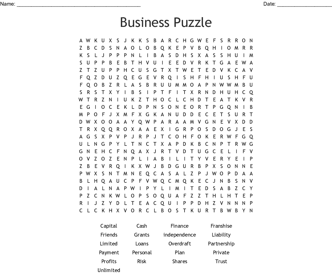 Business Puzzle Word Search