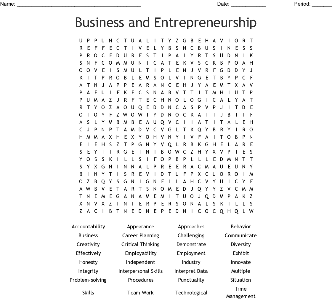Business And Entrepreneurship Word Search