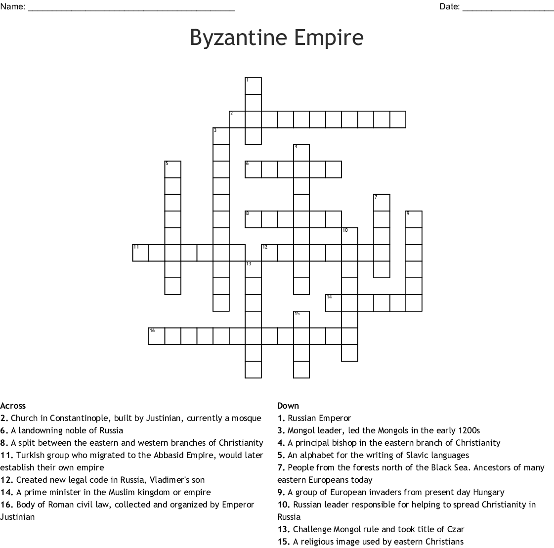 Byzantine Empire Crossword