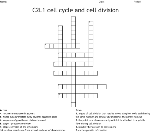 small resolution of c2l1 cell cycle and cell division crossword