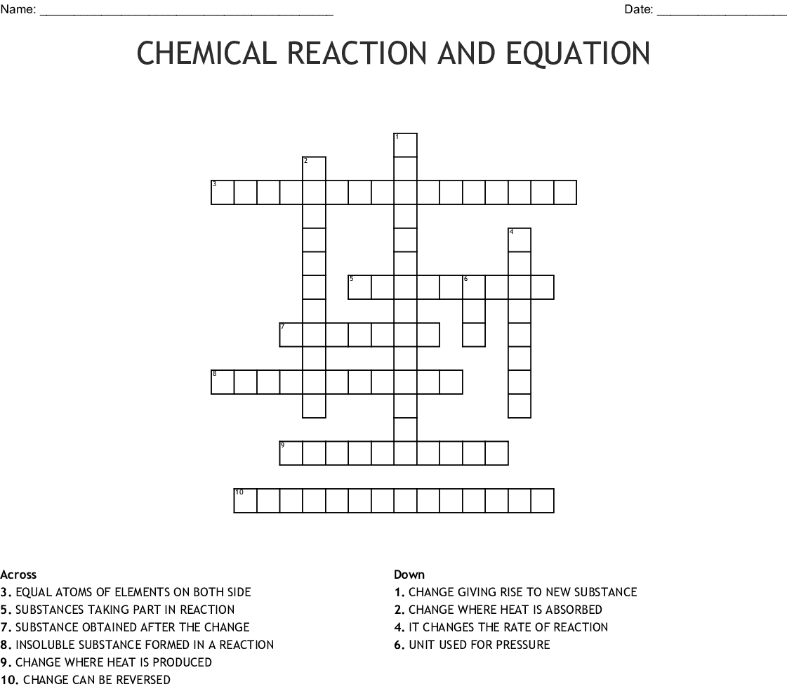 Chemical Reaction And Equation Crossword