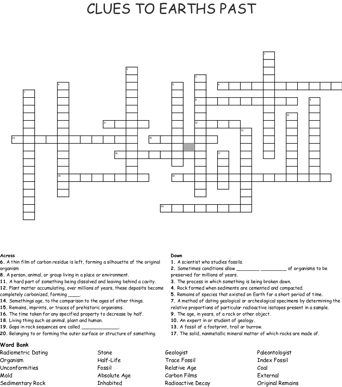 Fossil Word Search