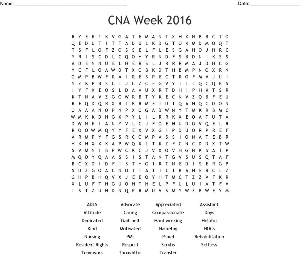 medium resolution of cna week 2016 word search