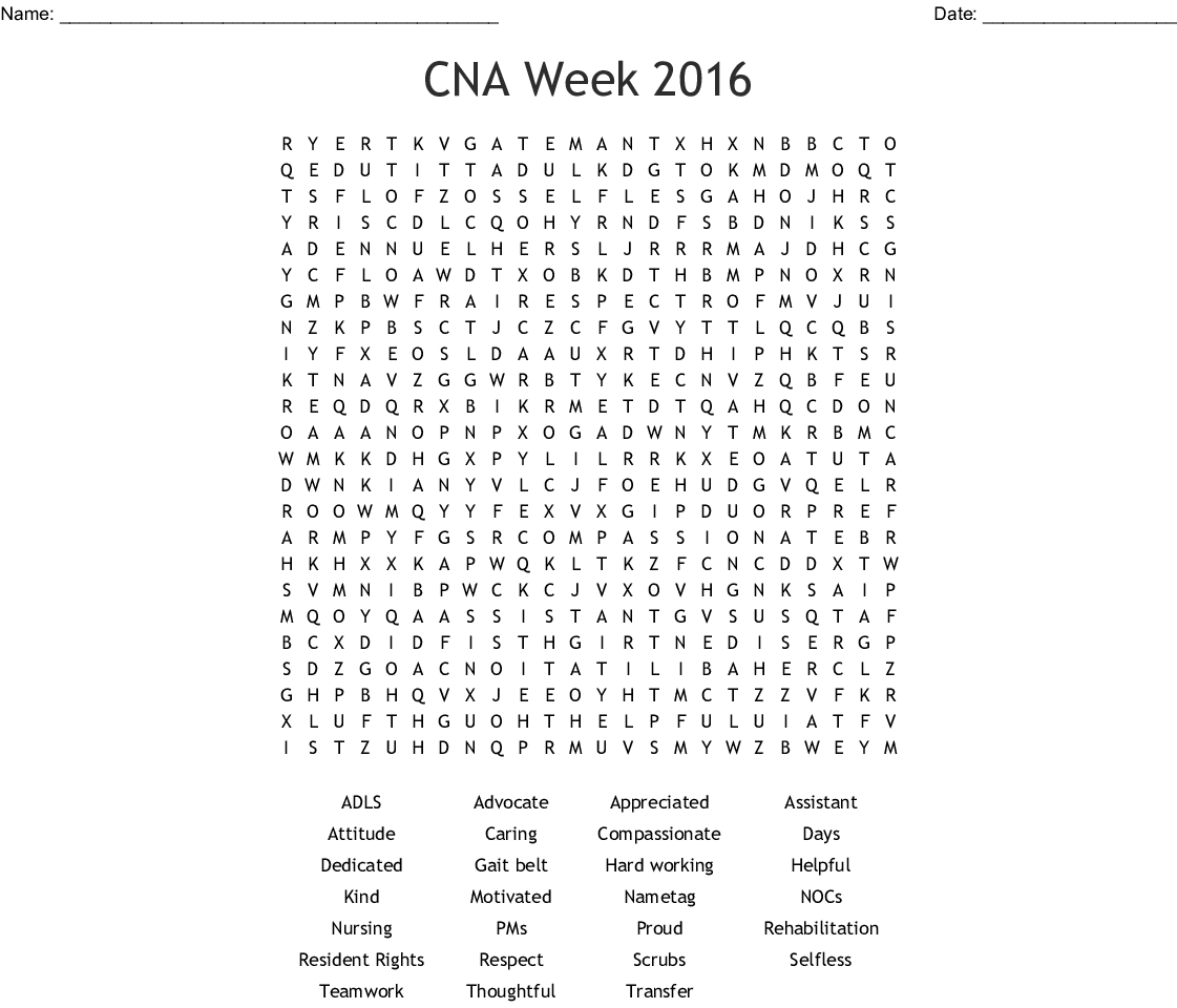 hight resolution of cna week 2016 word search