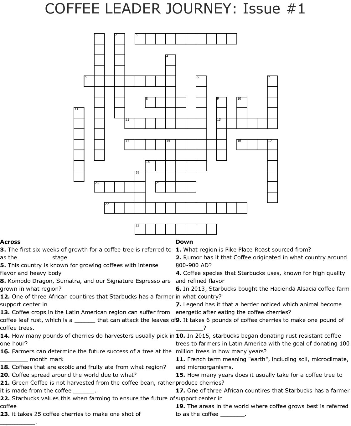 Coffee Leader Journey Issue 1 Crossword