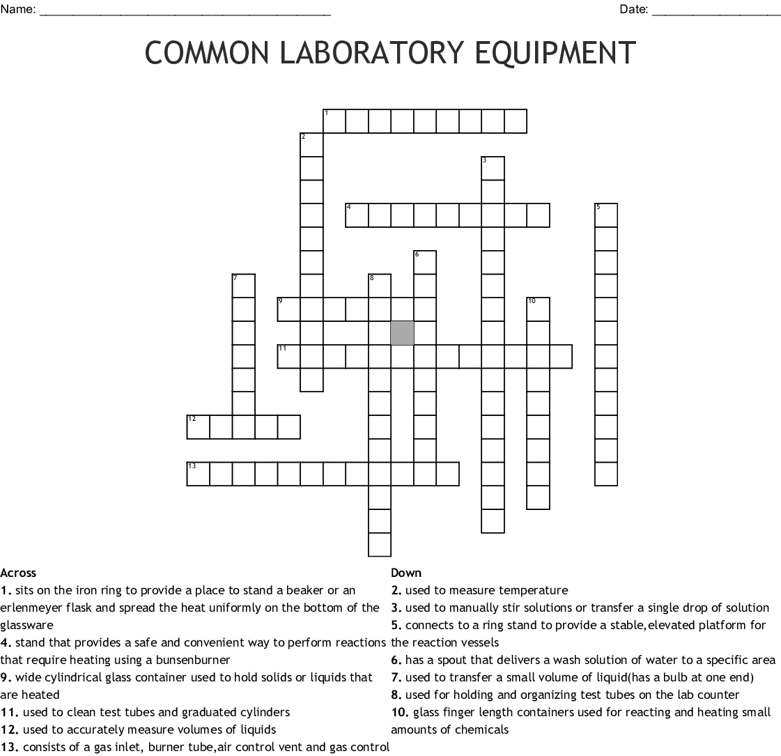 Common Laboratory Equipment Crossword