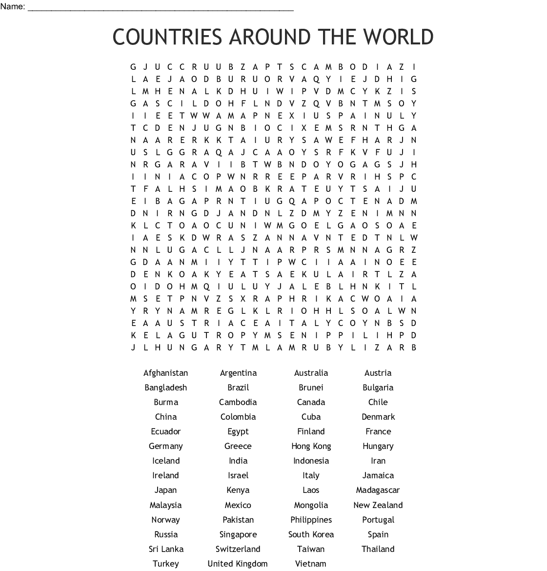 Countries Of The World Word Search