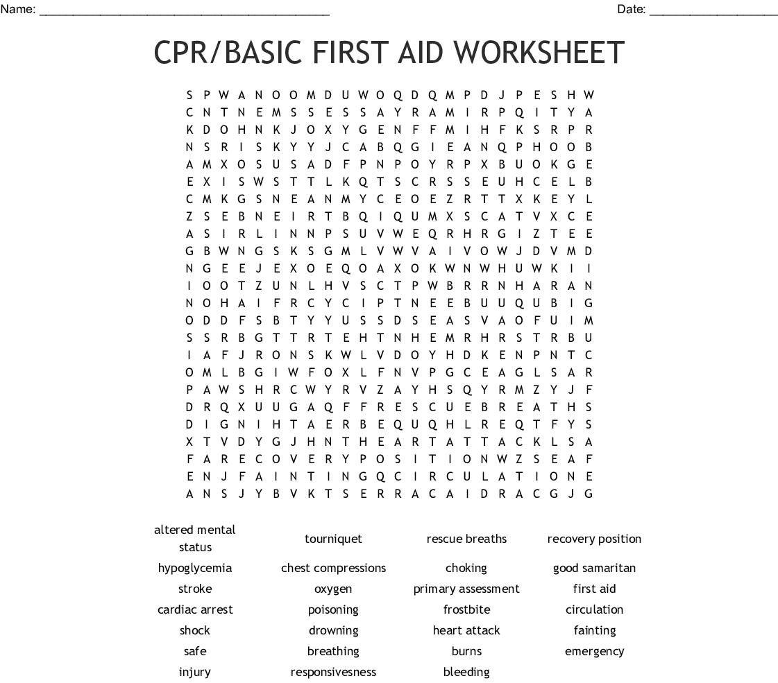 Cpr Basic First Aid Worksheet Word Search