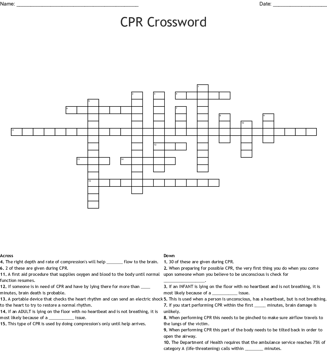 Cpr Word Find Word Search