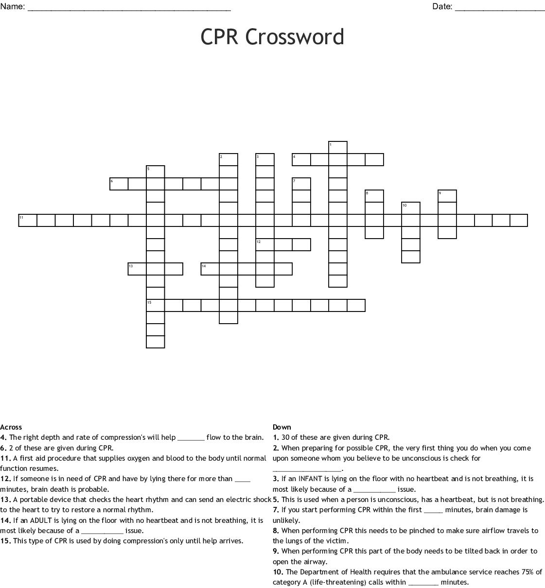 Cpr Worksheet Answer Key