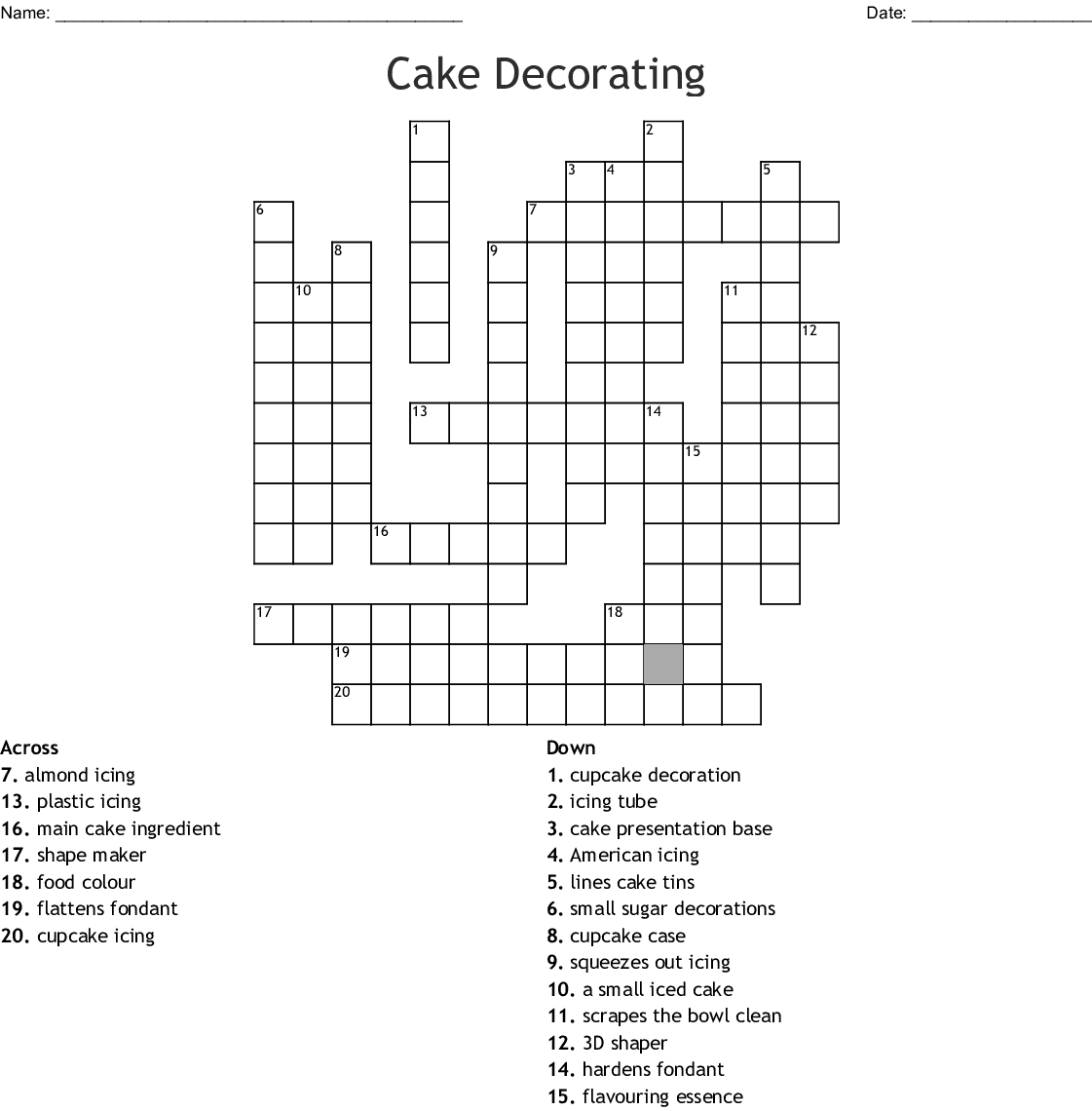 Baking Ingre Nts And Terms Word Search