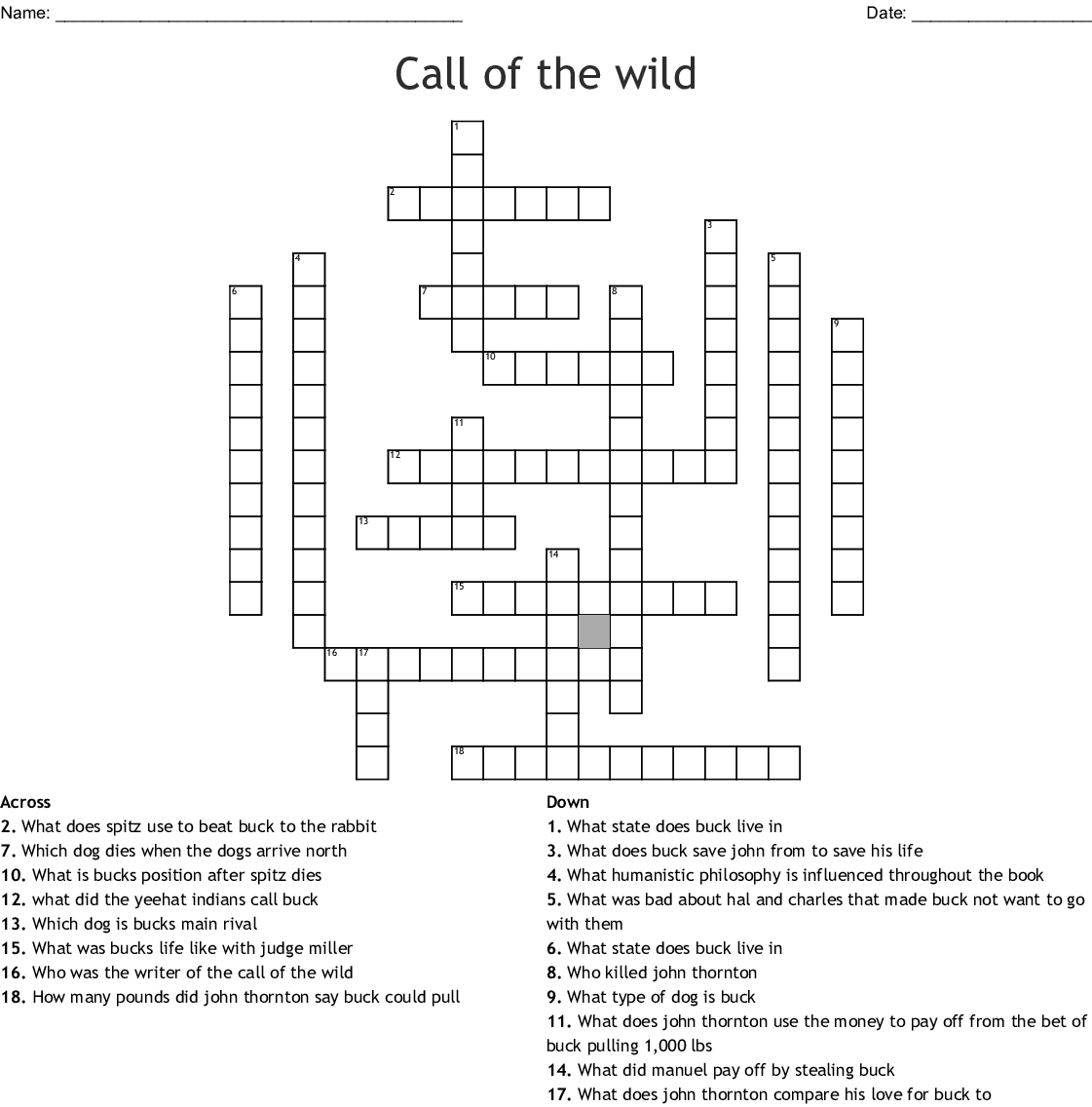 The Call Of The Wild Crossword