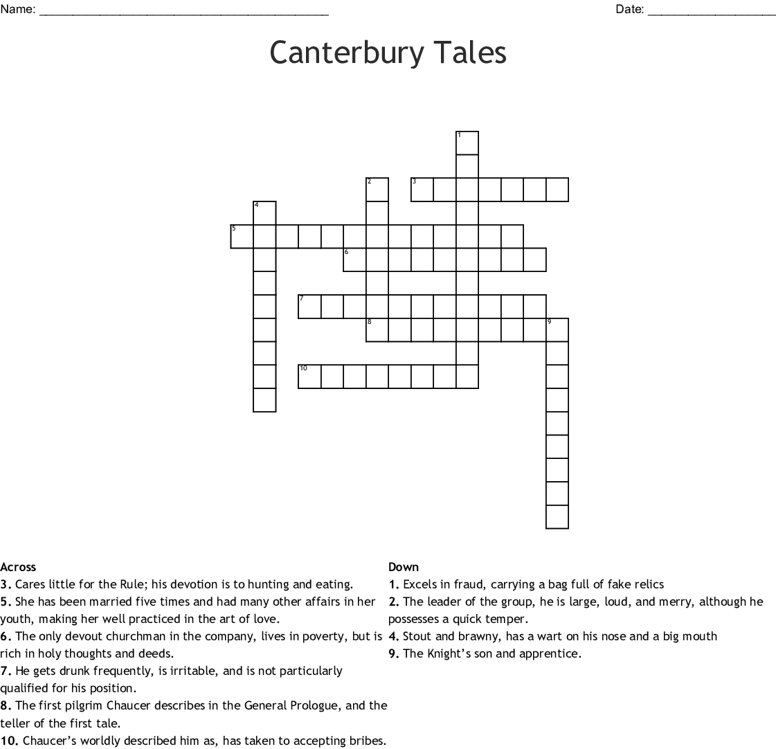 The Canterbury Tales Word Search