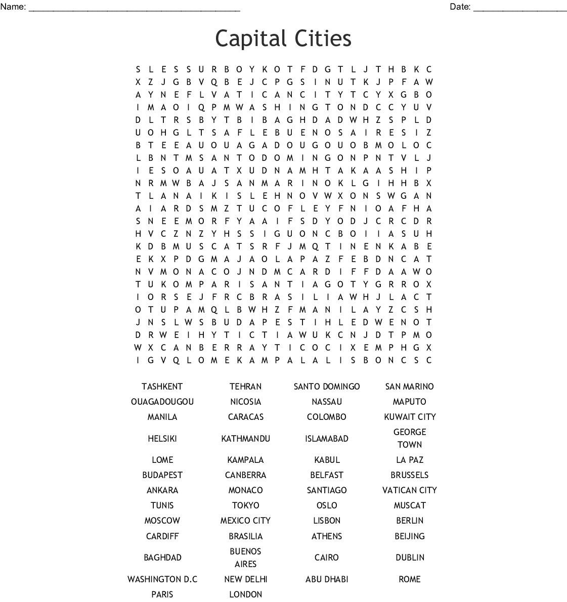 Capital City Worksheet