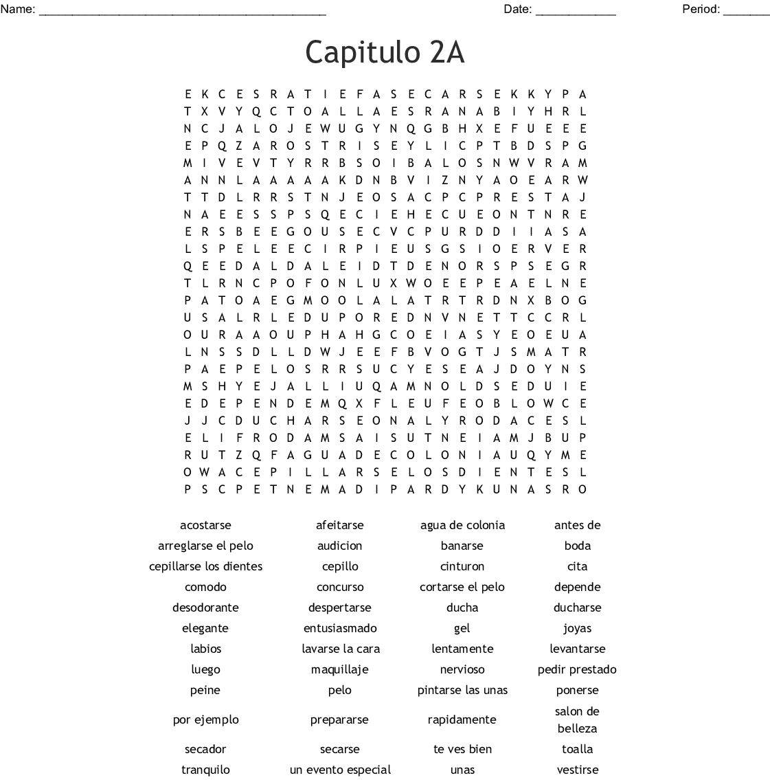 Crossword Realidades 2 Capitulo 3a Answers