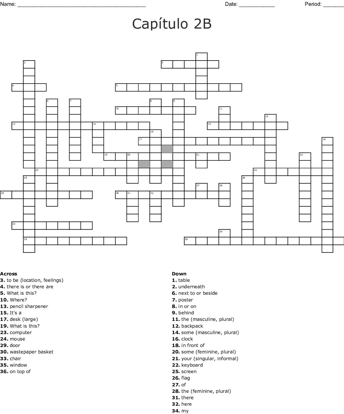 Crossword Answers Repaso Del Capitulo Crucigrama