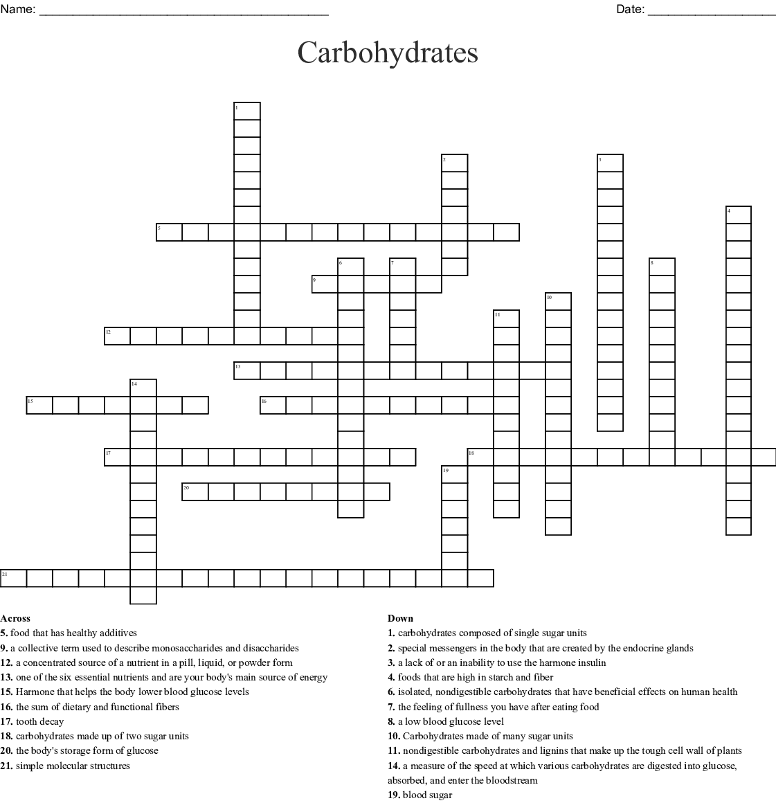 Carbohydrates Crossword
