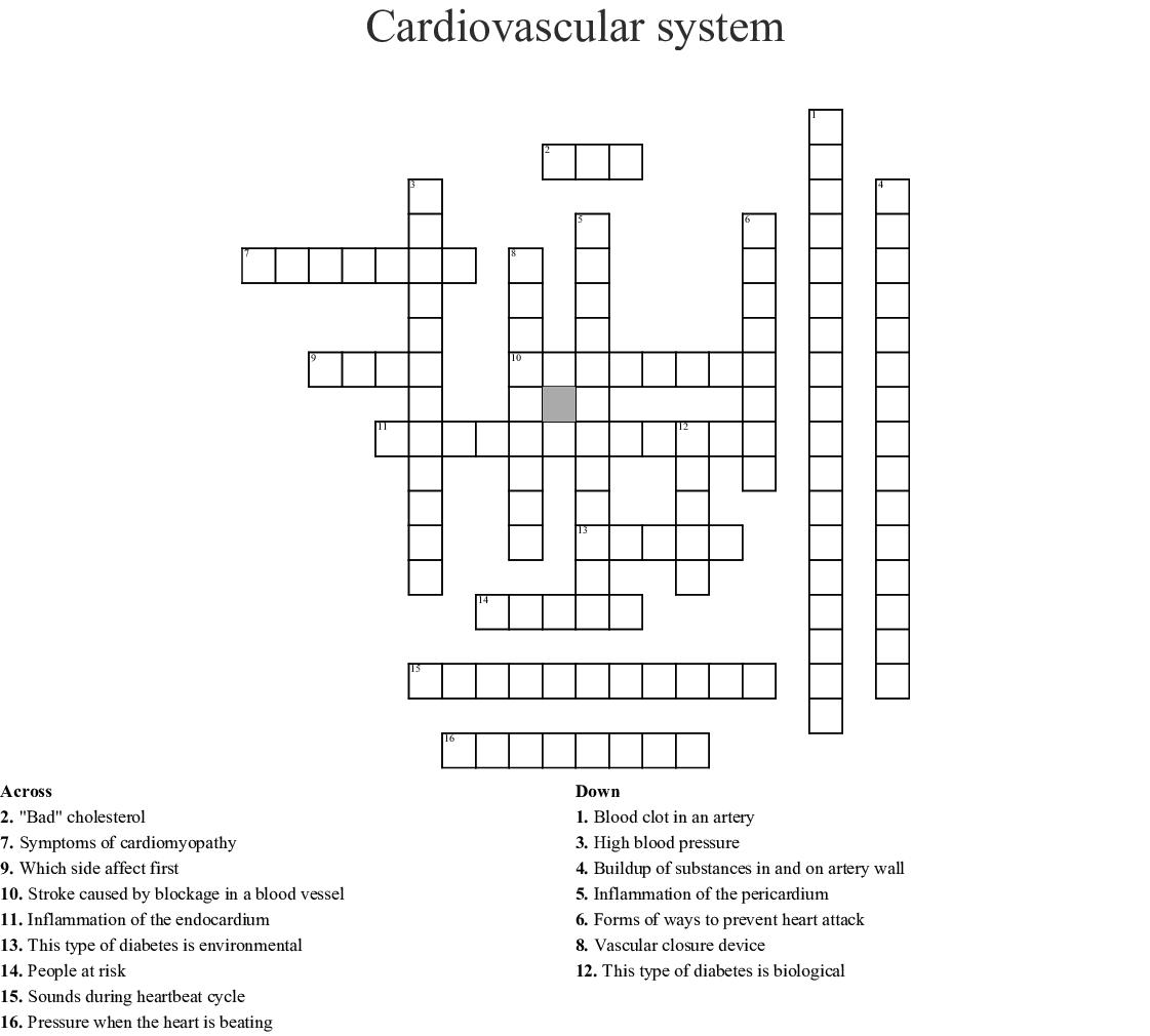 Cardiovascular System Crossword