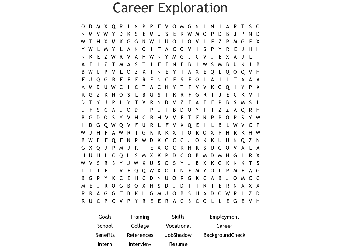 Career Word Search