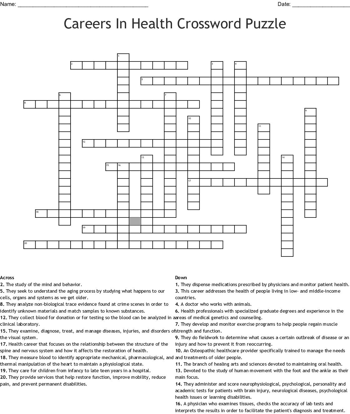 Health Crossword Worksheet