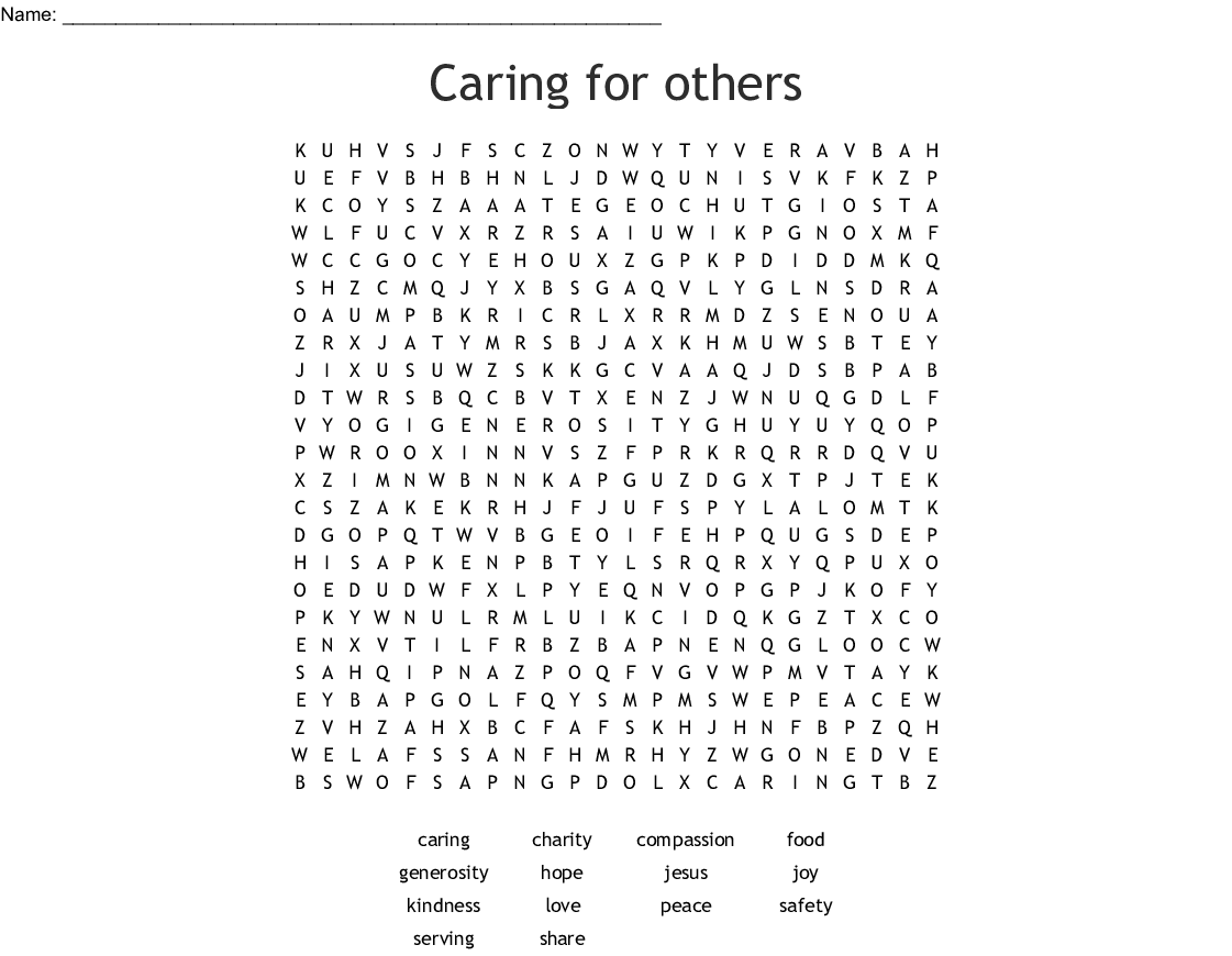 Caring For Others Word Search