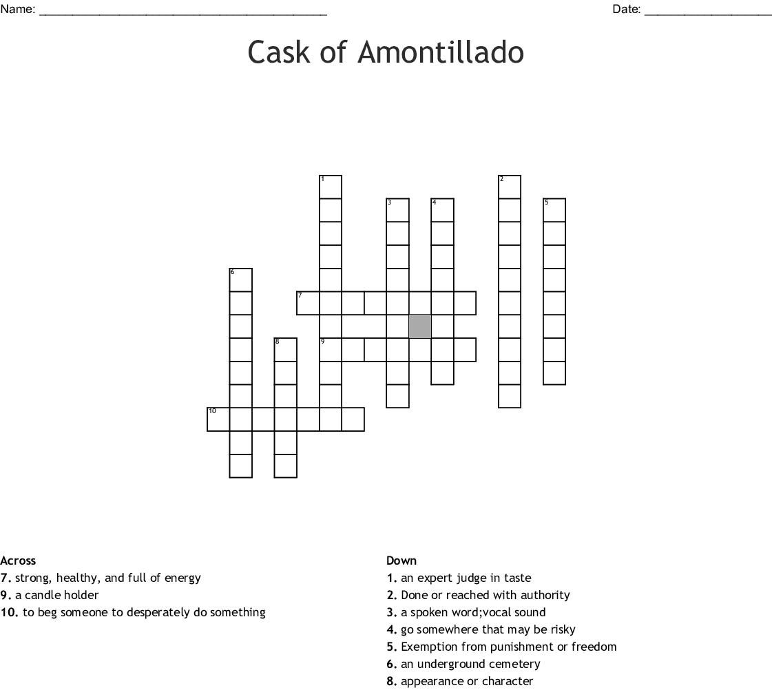 Cast Of Amontillado Word Search