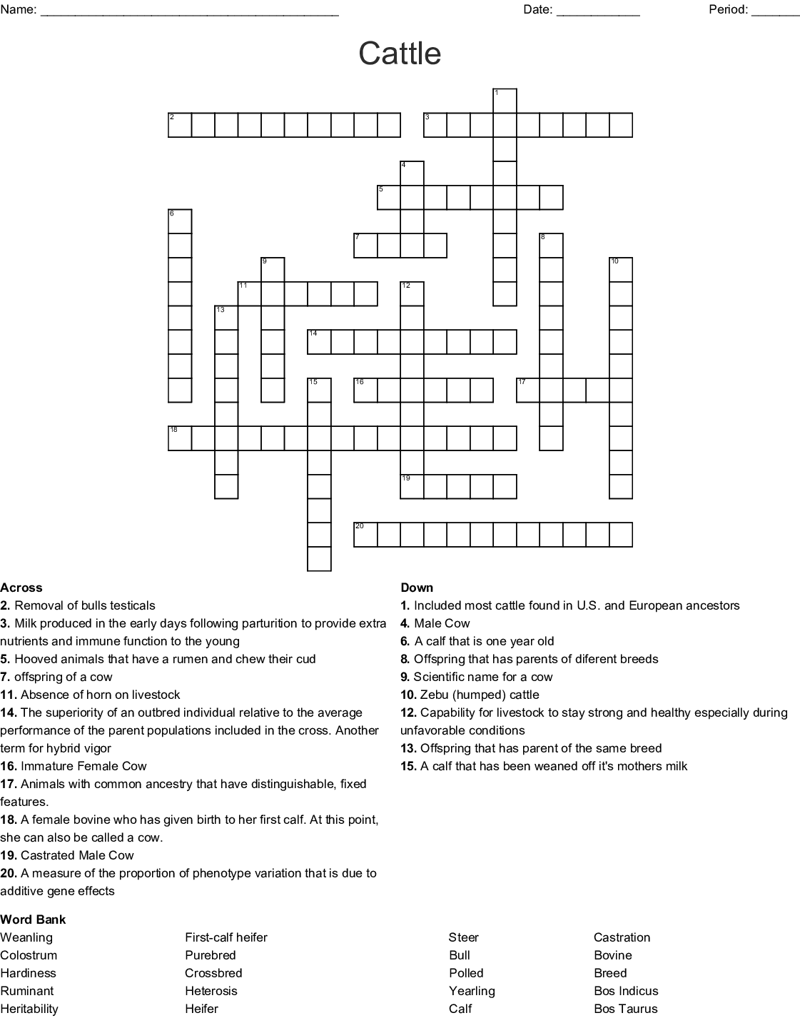 Cattle Crossword