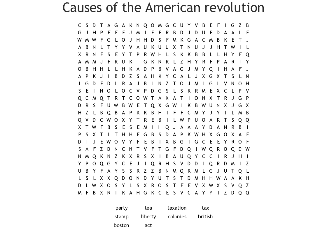 Causes Of The American Revolution Word Search