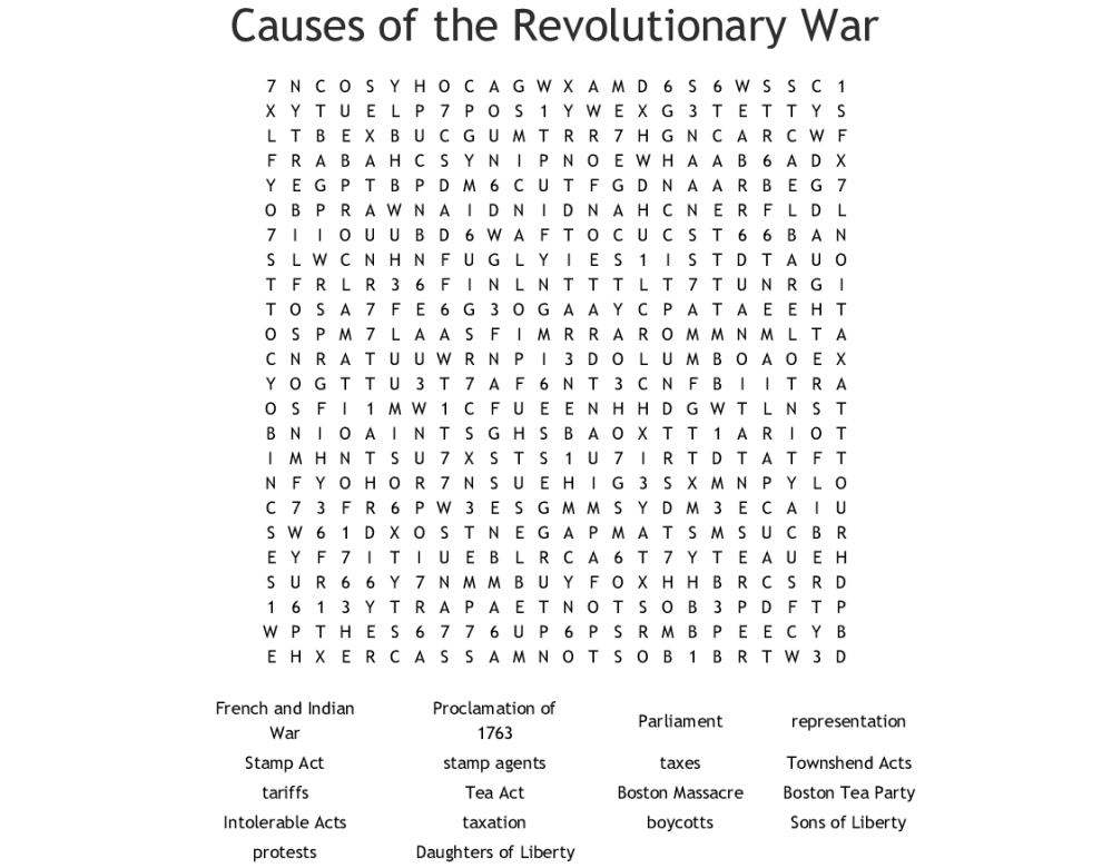 medium resolution of Causes Of The Revolutionary War Worksheet - Promotiontablecovers