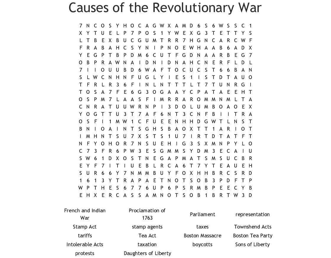 hight resolution of Causes Of The Revolutionary War Worksheet - Promotiontablecovers