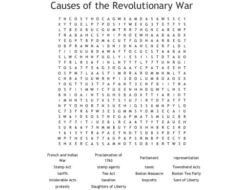small resolution of Causes Of The Revolutionary War Worksheet - Promotiontablecovers