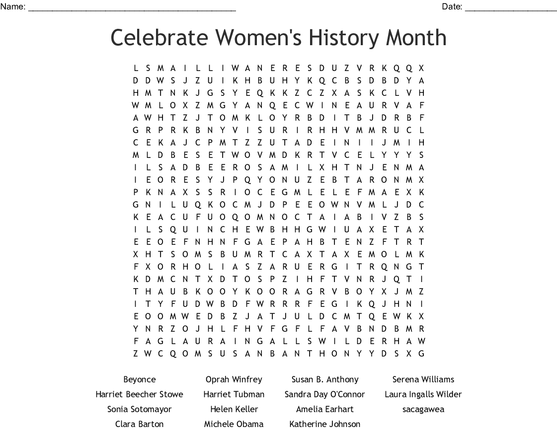 Celebrate Women S History Month Word Search