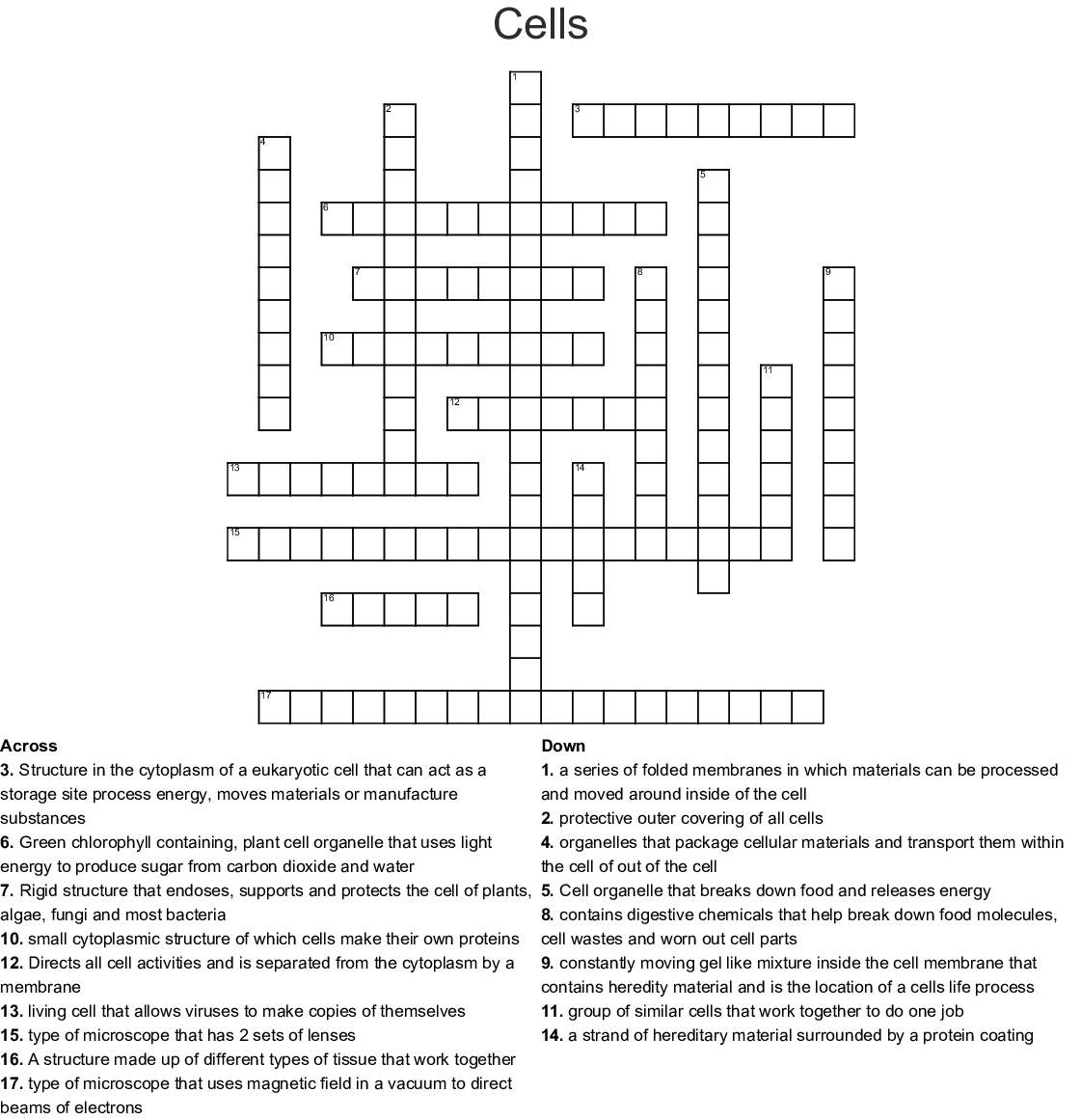 Cells Crossword