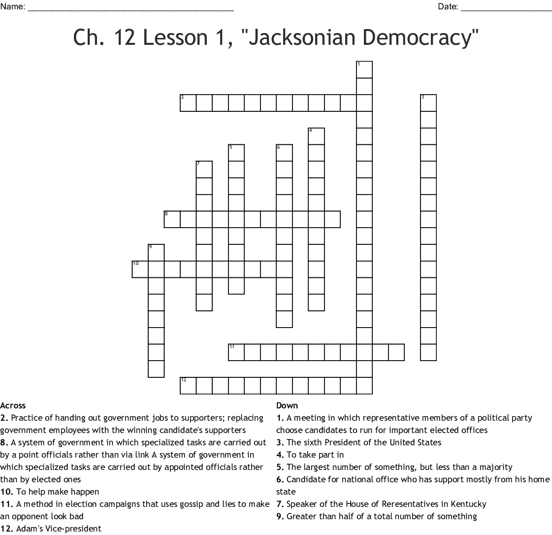The Age Of Jackson Crossword