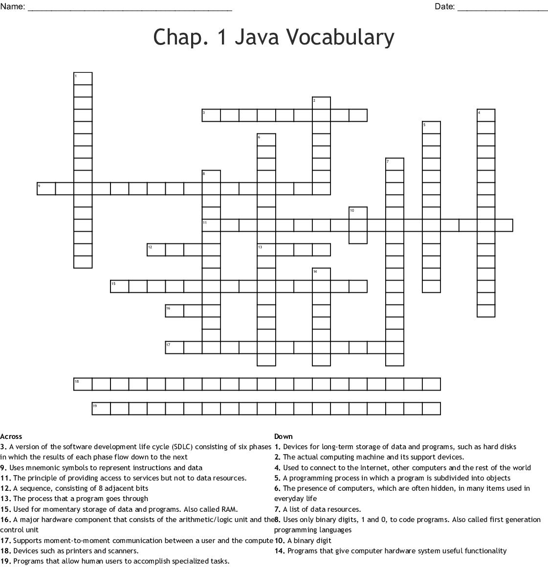 Chap 1 Java Vocabulary Crossword
